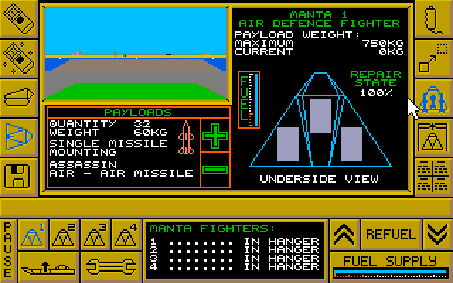 Here is the manta loading bay menu.  You can load weaponry, repair, build, and deploy them from here.